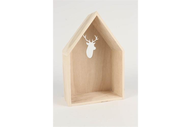 Etagere Forme Maison En Bois Decoupe Cerf A Poser Ou A