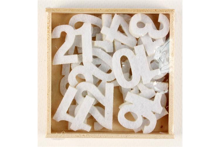 Coffret 24 chiffres en feutrine pour calendrier de l 39 avent blanc 2 5 cm coller stickers - Calendrier de l avent feutrine ...