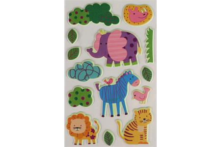 14 stickers 3D caoutchoux phosphorescent couleurs assorties - animaux de la jungle de 1.5 à 5 cm